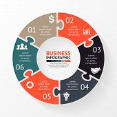 Vector circle puzzle infographic. Template for diagram, graph, presentation and chart.