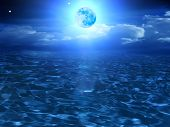 Moon  Sky  Clouds  Sea
