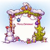 Illustration of Christmas Gate with snowman ant fir-tree