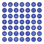 Thin Line Technology Icons Set For Web And Mobile Apps. White And Blue Colors Flat Design. Computer,