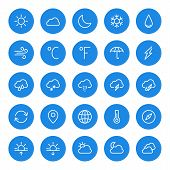 Thin Line Weather Icons Set For Web And Mobile Apps. White And Blue Colors Flat Design. Cloud, Sun,