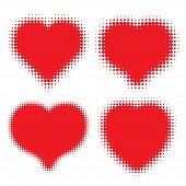 Set of Red Hearts Halftone logo