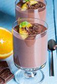Chocolate Pudding Dessert With Orange And Pistachio