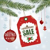 Christmas sale poster with sale tag & Christmas ornaments
