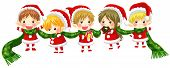 Cute Christmas Elves Tie Together With A Long Scarf (with No Black Outline Version)
