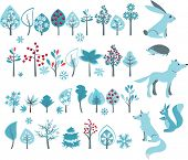 Big set with winter trees and forest animals - wolf,fox,hedgehog,squirrel. Vector illustration.