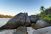 Close up Old Large Rock Formations at the Seashore of Enchanting Mahe Island in Seychelles.