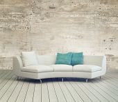 3D Rendering of White Couch Furniture on Cozy Living Room with Unfinished Wall Background Design and Wooden Floor.
