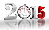 Happy New Year 2015 Number And Clock Metal And Red