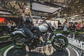 Beautiful Model Posing At Eicma 2014 In Milan, Italy