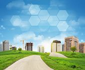 Buildings, construction site, green hills, road and transparent hexagons