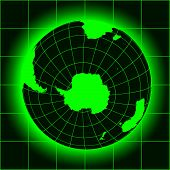 stock photo of south-pole  - Green Antarctica and South Pole map - JPG