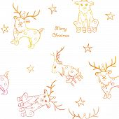 Seamless colorful pattern with cute reindeers