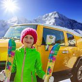 Skiing. Skier enjoying winter vacation