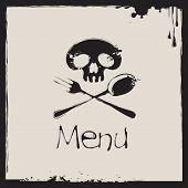 menu with a human skull