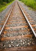 stock photo of railroad yard  - Main line train track switches and yard