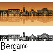Bergamo Skyline In Orange Background
