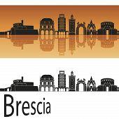 Brescia Skyline In Orange Background