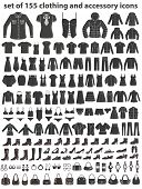 Set of 155 icons: clothing, shoes and accessories. Women's and Men's fashion.