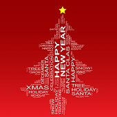 Conceptual Christmas or Happy New Year fir tree made of text as wordcloud isolated on red background