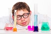 Young Chemist Sleeps In The Lab