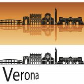 Verona Skyline In Orange Background