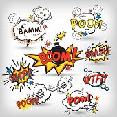 stock photo of bubbles  - Comic speech bubbles in pop art style with bomb cartoon explosion splach powl snap boom poof text set vector illustration - JPG