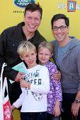 LOS ANGELES - NOV 16:  Don Roos, Jonah Bucatinsky, Eliza Bucatinsky, Dan Bucatinsky at the PS Arts Express Yourself Benefit at the Barker Hanger on November 16, 2014 in Santa Monica, CA