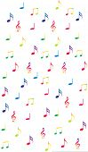 Musical notes in bright rainbow colors on white