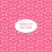 Romantic line seamless pattern with hearts. Beautiful  vector illustration. Background. Endless text