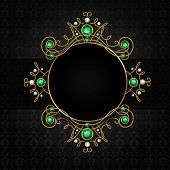 stock photo of tiara  - Jewellery black classic vintage golden tiara with diamonds and green emeralds frame vector illustration - JPG