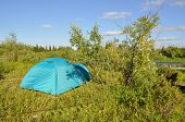 Camping Tent On The Lawn.