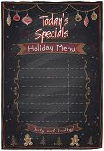 Holiday menu chalkboard with place for text. Today`s specials.
