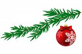 Christmas ball with snowflake and pine tree isolated on white background.  Illustration.