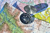 foto of compasses  - The compass on the map - JPG