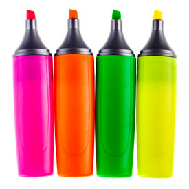 image of sharpie  - colorful highlighters or markers isolated over a white background - JPG