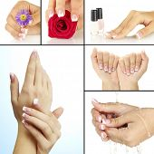 picture of french manicure  - Hands with french manicure in collage - JPG
