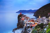 stock photo of 5s  - Vernazza village aerial view on sunset Seascape in Five lands Cinque Terre National Park Liguria Italy Europe - JPG