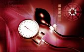 picture of bp  - Digital illustration of sphygmomanometer in colour background - JPG