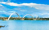 picture of straddling  - JK Bridge in Brasilia - JPG