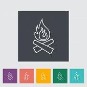 foto of bonfire  - Bonfire outline icon on the button - JPG