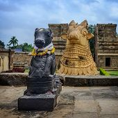 stock photo of tamil  - Statue of Nandi Bull in front of Gangaikondacholapuram Temple - JPG