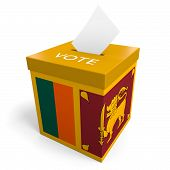picture of ballot-paper  - A ballot box bearing the Sri Lankan flag - JPG