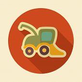 stock photo of combine  - Combine harvester retro flat icon with long shadow eps 10 - JPG