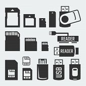 picture of memory stick  - Memory cards sticks readers and SIM cards vector silhouettes - JPG