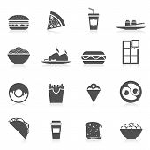 image of potato chips  - Fast food icons black set with sushi potato chips pizza and sandwitch isolated vector illustration - JPG