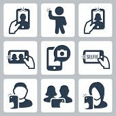 picture of selfie  - Selfie related vector icons set over white - JPG