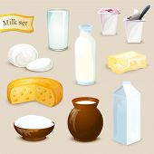 stock photo of milk products  - Milk food and drink products decorative icons set with yogurt cheese butter isolated vector illustration - JPG