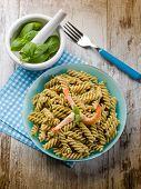pic of pesto sauce  - fusilli with shrimp and pesto sauce - JPG