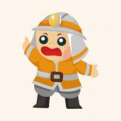 image of fireman  - fireman theme elements - JPG